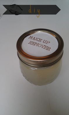 DIY makeup remover: 1/2 T tear-free baby shampoo, 1/4 t olive oil/coconut oil, and water in small jar