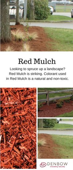 Red colored Mulch - With the same benefits as above, red mulch is stricking. Colourant used to make Coloured Mulch is a natural, non-toxic product. Visit denbow.com for more on landscaping, gardening, and mulch products.