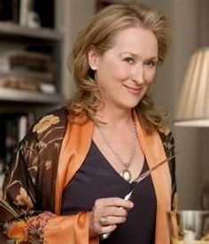 "Meryl Streep's outfit in the movie ""It's Complicated."" Love love, LOVE it!  Japanese silk kimono duster of chocolate brown and coral over dark brown tank and leggings. Comfortable and easy and oh so lovely."