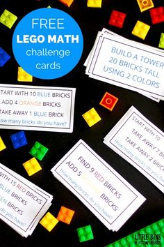 LEGO Math Challenge Cards and Activities LEGO Math Challenge Cards and LEGO Math Activity Busy Bag Kindergarten and Early Elementary Grades Math Center Time Lego Challenge, Challenge Cards, Challenge Ideas, Free Lego, Free Math, Lego Activities, Math Games, Math Resources, Educational Activities