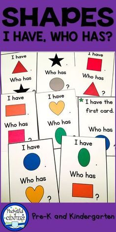 2D and 3D Shapes I Have, Who Has? Game. This is a fun way to practice learning shapes and colors in PreK and Kindergarten.