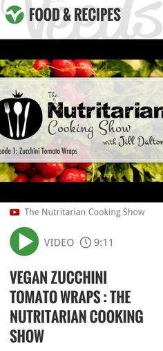 Vegan Zucchini Tomato Wraps : The Nutritarian Cooking Show | #nutritarian #cooking | http://veeds.com/i/OPmqFBbDQKoY5Yft/jummy/
