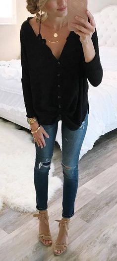 how to style rips : black blouse + nude heels