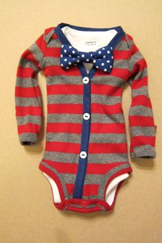 Baby Boy Outfit  Red/Gray Stripe with Blue by KraftsbyKizzy, $30.00