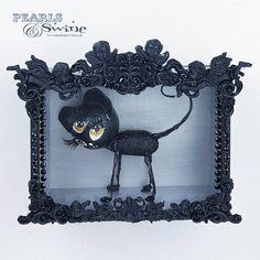 """JuJu"" Black Cat Doll Sculpture in Framed Box Art Box Frame Art, Box Frames, Box Art, Cat Doll, Yellow Eyes, Framed Art, Sculpture Art, Sculptures, Cats With Big Eyes"