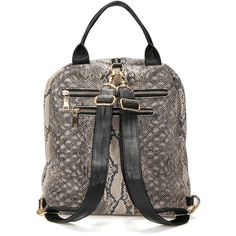 Yoins Yoins Snake Print Backpack ($39) ❤ liked on Polyvore featuring bags, backpacks, vegan leather bags, vegan backpack, snake print bag, faux leather bag and fake leather backpack