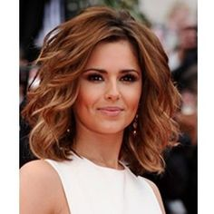 Curly Bob Hairstyles Cheryl Cole Wavy Highlighted Shoulder Length Bob | LONG HAIRSTYLES