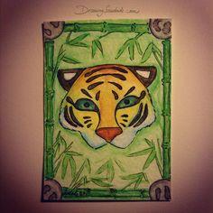 Drawing Saudade Tiger  Artist trading card