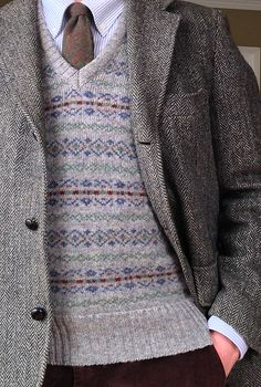 Vintage 3/2 J. Press Harris Tweed jacket, Brooks Brothers blue university stripe OCBD, vintage Lands' End Shetland wool Fair Isle sweater vest (Scotland), Craigmill wool tie (Scotland), Lands' End corduroys.