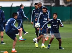 Paulo Dybala of Argentina goes for the ball during a training session at Argentine Football Association (AFA) 'Julio Humberto Grondona' training camp on November 09, 2015 in Ezeiza, Argentina. Argentina will face Brazil on November 12, 2015.