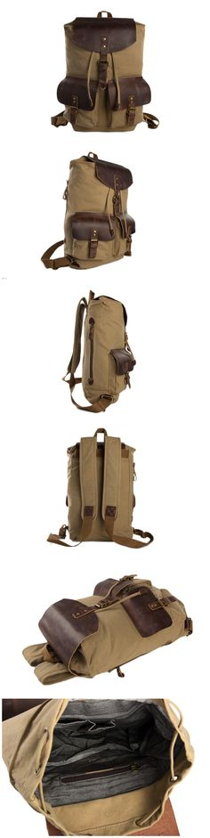 Canvas Backpack, School Backpack, Canvas Leather Backpack