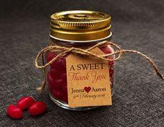 Lolly jar as a wedding favour. 65 more wedding favor ideas at http://www.southernbride.co.nz/wedding-favour-ideas/