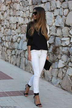 Summer look - black blouse and white jeans