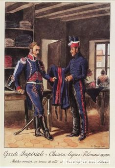 French; Imperial Guard, Polish Cheveaulegers, Maitre-Ouvrier(Master Articifer(?)) in Tenue de Ville and tailor(?) in stable dress 1807-14