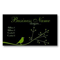Chic Boutique Green Bird Business Card