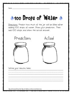 predict how full a jar of 100 drops is... count actual and compare
