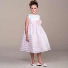 cda7dae0a0 Crayon Kids Little Girls Pink Satin Stripes Flower Girl Easter Dress 2T-6