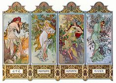 Vintage Art Nouveau Fridge Magnet Alphonse Mucha Woman Four Seasons Winter Autumn Spring Summer on Etsy, $4.00