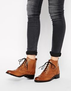Bertie Peron Brogue Flat Lace Up Boots