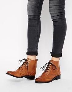 Bertie Peron Brogue Flat Lace Up Boots