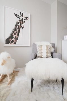 Shag carpet galore: http://www.stylemepretty.com/living/2015/07/13/modern-all-white-nursery-with-a-pop-of-pink/ | Photography: Claire Esparos - https://www.homepolish.com/