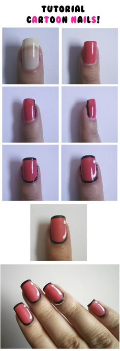 Tutorial de Cartoon Nails! http://feriadoparticular.com/2013/09/cora-foup-tutorial-cartoon-nails.html