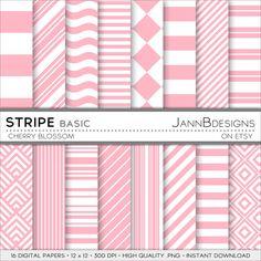 Cherry Blossom STRIPE  BASIC Digital Paper Pack  by JAnnBdesigns