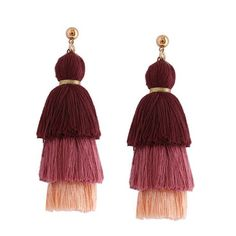 Layered Tassel Earrings Brown ($3.04) ❤ liked on Polyvore featuring jewelry, earrings, accessories, aros, zaful, layered jewelry, brown jewelry, brown earrings, tassel earrings and earring jewelry