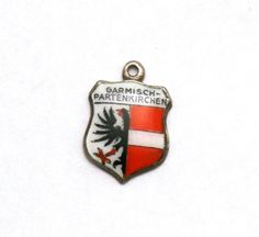 Garmisch Partenkirchen Germany Coat of Arms Enamel Travel Shield 800 Silver Bracelet Charm by SterlingRevival on Etsy