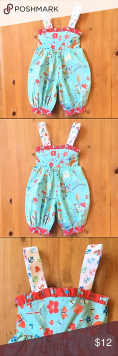 Sweet Child's Romper So sweet like new never worn birds, anchors and flowers shoulder straps are adjustable for a good fit 24 in long chest 10 in 7 in inseam One Pieces