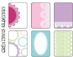 Free Lace Journal Cards from KLdezign {French blog, enlarge image and right click to save file}