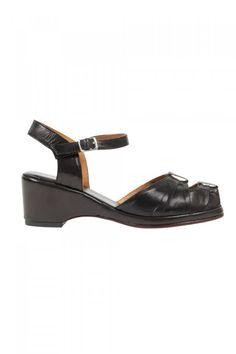 bc1ae164b Black Leather Pleated Peep Toe Sandal Wedge Vintage Inspired Shoes