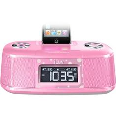 Pink Alarm Clock With Bed Shaker For iPod®  iLuv IMM153PNK  PRICE DROP!