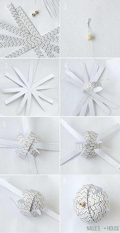 boule en papier noël idée brico facile déco à fabriquer