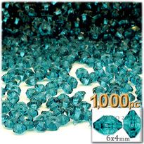 Plastic Rondelle Beads, Transparent, 6mm, 1,000-pc, Aqua