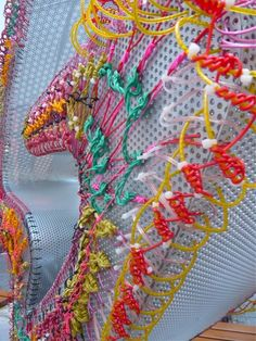 I like the image created Bella Leonard G sculpture commission Berlin. 2013 Bella May Leonard interview: Sculptural embroidery For Elise, Donia, Textiles Techniques, Plastic Art, Fabric Manipulation, Recycled Art, Textile Artists, Embroidery Art, Fabric Art