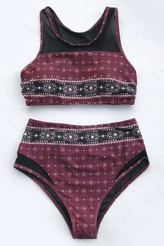 60313db3cb0f7 Pleasantly surprised by combination of the mesh splicing and wine red  placement print. Cupshe Peach Latte Mesh Bikini Set