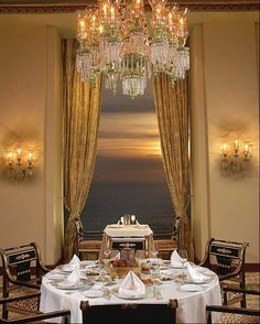 Dining Room With Maria Theresa Style Crystal Chandelier See More Stellarsky
