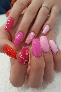 55 of the Best Valentine's Day Nails for 2019 - Bling Acrylic Nails, Best Acrylic Nails, Gel Nails, Pink Shellac, Toenails, Nail Swag, Valentine's Day Nail Designs, Heart Nail Designs, Fire Nails
