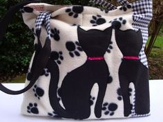 Handmade Fleece Black Cats Tote - shoulder Bag - slip pockets - magnetic clasp. £17.75
