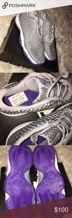 Gray and purple Jordan Futures, size 4.5 Y Brand new, does not come with original box. Still has tag, never worn, perfect condition. Very trendy, purple and gray Jordan futures, comment for questions  size 4.5 Y is 6.5 in woman's Jordan Shoes Sneakers