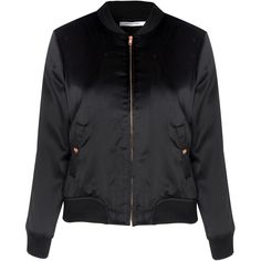 Glamorous Petite Black Satin Bomber Jacket found on Polyvore featuring outerwear, jackets, tops, coats & jackets, black, sports jacket, satin jackets, satin bomber jacket, zip front jacket and blouson jacket