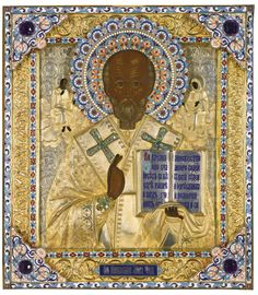 Enamel Icon of St Nicholas the Miracleworker, by Ivan Tarabrov, Moscow - Saint depicted holding the book of Gospels with repoussé enamel, garmets. Inset with peridot crosses. Halo pierced and decorated with polychrome cloisonné enamel foliate. Borders repoussé with scrolling foliage within enamel bands.