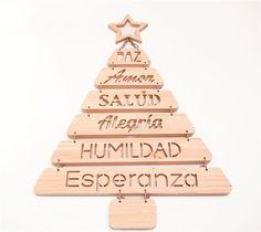 Árbol de Navidad Decorative Bells, Ideas Para, Diy And Crafts, Triangle, Christmas, Classroom, Education, Ideas, Alphabet