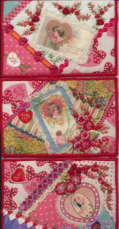 Gorgeous anlabyhouse - Valentines Day fabric postcard swap ♥