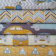 Fabric Freedom Retro Road Trip 100% Cotton Fabric FQ Crafting Patchwork Yellow