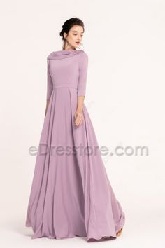 The wisteria bridesmaid dress features boat neckline with hand ruching details and beaded accent, simple and elegant cut looks so beautiful, A Line skirt floor length. Beautiful Prom Dresses, Simple Dresses, Elegant Dresses, Cute Dresses, Indian Gowns Dresses, Indian Fashion Dresses, Dress Indian Style, Wisteria Bridesmaid Dresses, Modest Bridesmaid Dresses