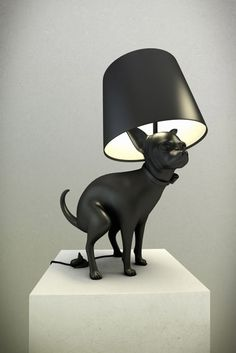 You simply have to hit the shit to turn the lamp on. Great.  Pooping Dog Lamps by Whatshisname.