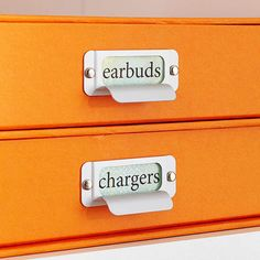 Organize cords and chargers with a simple DIY idea. Use photo boxes with labels to store tech items and tidy up your small space!