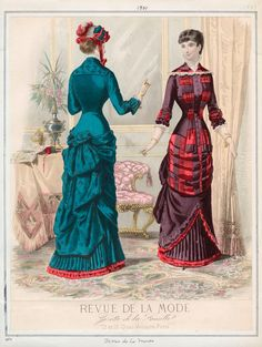"1880 Fashion Plate extraído de la revista ""Revue de la Mode"" - Natural Form era"